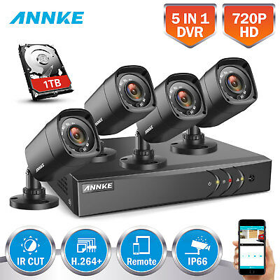 SANNCE 720P TVI Video 8CH 1080N DVR 4in1 Home IR Security Cameras System 1500TVL