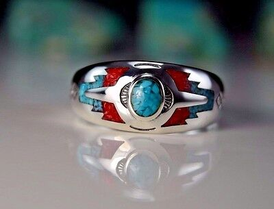Sterling silver Turquoise & Coral inlaid & stamped southwest ring Size 5 thru 13