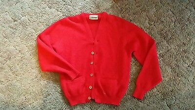 VINTAGE 1950S 60S ROCKABILLY SWEATER CARDIGAN BRENTWOOD MEDIUM red hipster