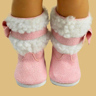 Cute Pink Shoes Fur Boots for 18 inch 18'' American Girl Doll Clothes Dress Gift