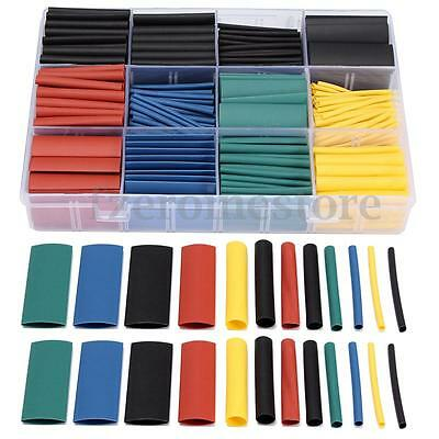 530Pcs 2:1 Heat Shrink Tubing Tube Sleeving Wrap Cable Wire 5 Color 8 Size Box