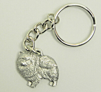 Pomeranian Dog Keychain Keyring Harris Pewter Made USA Key Chain Ring