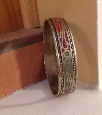Antique Hand Made Authentic Moroccan Berber Silver Turquoise Coral Bracelet 40g