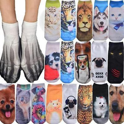 1 Pair Cotton Animal 3D Print Mens Womens Boy Girl Casual Ankle Socks Warm Socks