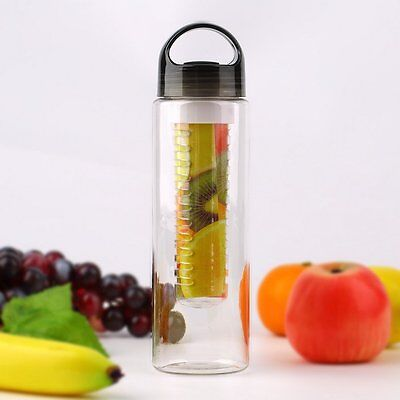 800mL Fruit Juice Infuser Infusing Sports Water Bottle Health Flip Lid BPA Free