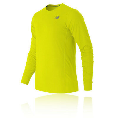 New Balance Accelerate Mens Yellow Long Sleeve Crew Neck Running Sports Top