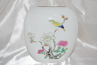 Ming Garden Thin Floral Painted Vase by Octagiri