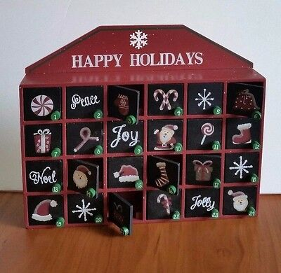 NEW Christmas Countdown Boxes Wooden Happy Holiday Advent Calendar Fast Ship