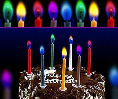 Colorflame Birthday Candles with Coloured Flames (pack of 6) - Oz Seller