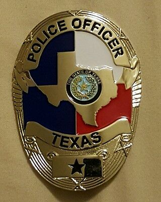 Obsolete Silver Texas  Police Badge-  Curved