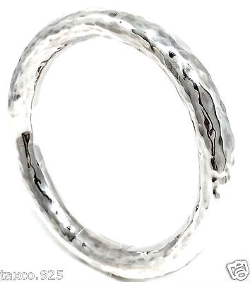 Taxco Mexican 925 Hammered Sterling Silver Bangle Bracelet Mexico