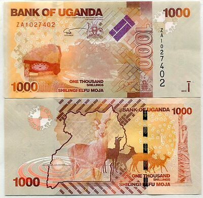 Uganda 1000 1,000 Shillings 2015 P New Date Za Replacement Banknote Unc