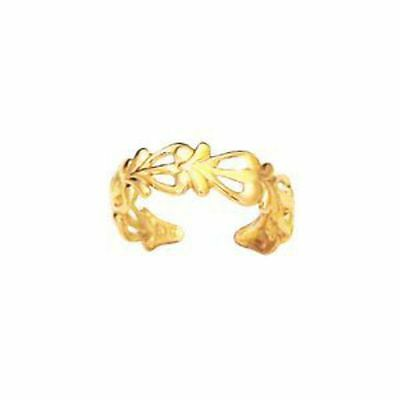 New 9ct yellow gold floral pattern toe ring jewellery