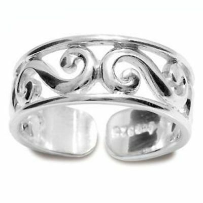 New solid 925 sterling silver jewellery Toe Ring - Scroll