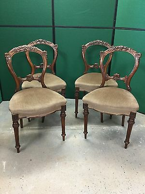 4 Antique Victorian Walnut Carved Balloon Back Dining Room Chairs