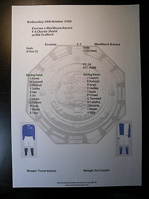 1928 FA Charity Shield Everton v Blackburn Rovers Matchsheet