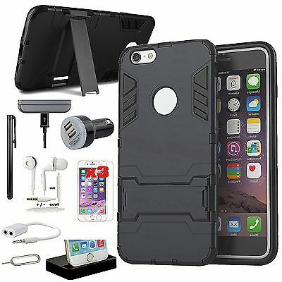 Kickstand Case Cover Dock Charger Earphones Accessory Kit For iPhone 5S 5SE