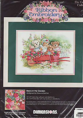 PAINTED RIBBON EMBROIDERY KIT - 'Bears in the Garden' - (Dimensions)