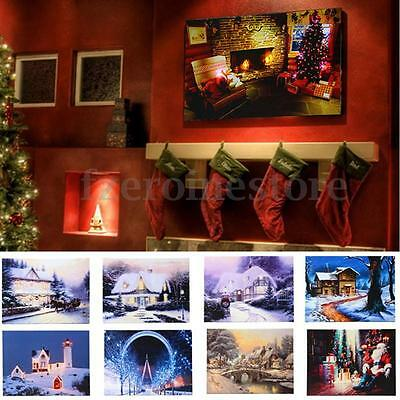40x30cm LED Light Christmas Xmas Canvas Art Picture Printing Home Wall Deco