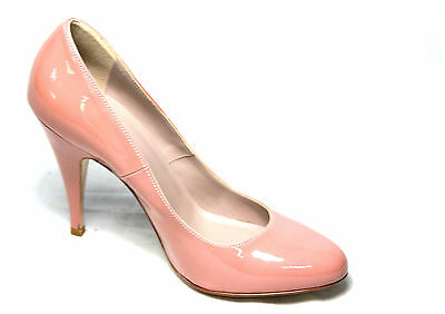 ELLEMME court shoes vernice pink beige heel cm 11 100% leather MADE IN ITALY