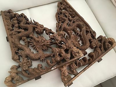 Antique Asian Chinese Carved Wood Dragon Luck Corbel Shelve Panel Pair