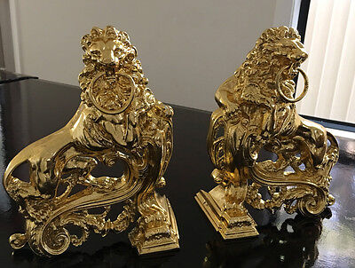 Antique French Empire Ormolu Bronze Rococo LION Fireplace Andirons Chenets 1850s