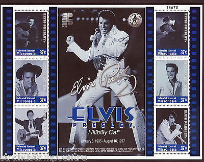 Elvis Presley Hillbilly Cat Unmounted Mint Stamp Sheet from Micronesia