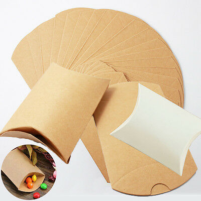10/50/100pcs Kraft Paper Pillow Gift Boxes Candy Box Wedding Party Favors Bags