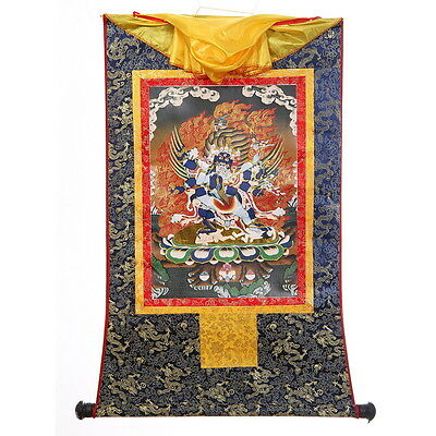 48 Inch Tibet Thangka Vajra - Wrathful Vajrakilaya Brocade Wood Scroll Printed