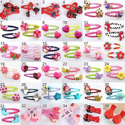 1 Pair Cartoon Hair Clips Snaps for Girls Kids Babies Hair Accessories 36Designs