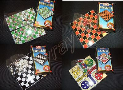Mini Magnetic Travel board games Ludo Chess Snakes & ladders and Draughts