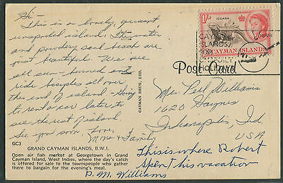 Cayman Islands 1953 1sh on single franked postcard to USA