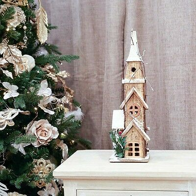 40Cm Indoor Window Battery Operated Christmas Wooden Church Decoration Led Light