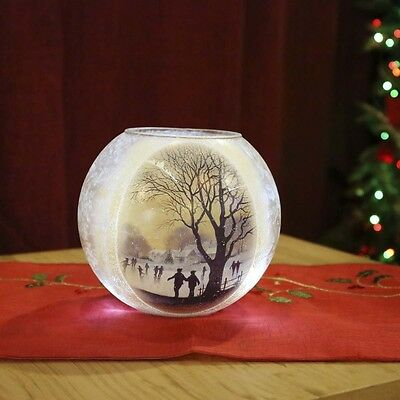 16Cm Indoor Battery Operated Christmas Glass Ice Rink Bowl Decoration Led Light