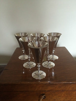 "Beautiful Set Of 6 Silver Plated Wine Goblets 4,75"" Tall"