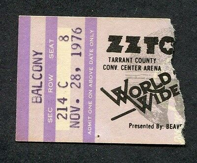 1976 ZZ Top Rory Gallagher Concert Ticket Stub Fort Worth Texas Tejas