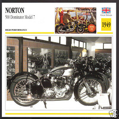 1949 Norton 500cc Dominator Model 7 497cc Motorcycle Photo Spec Sheet Info Card