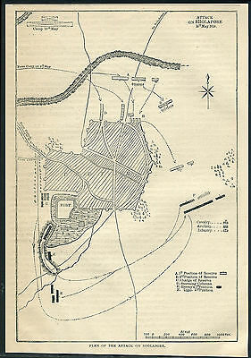 India 1880 engraving PLAN OF THE ATTACK ON SHOLAPORE. Printed on back 6''x9''