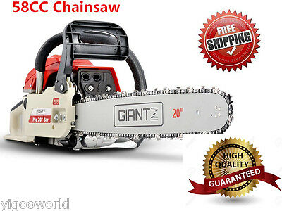 """NEW Commercial 58CC Petrol Chainsaw 20"""" Bar Pruning Tree E-Start Chain Saw 4.2Hp"""