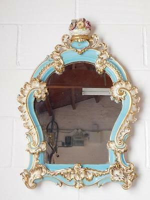 A Lovely French Antique Ceramic Scroll Wall Mirror