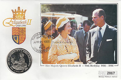 Turks and Caicos HM Queen Elizabeth 70th Birthday. $5.00 Coin Cover