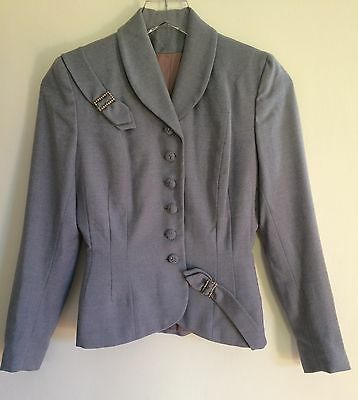 Vintage 1950s 2-Piece Hand Tailored Skirt Suit Size Extra Small Petite Blue Wool