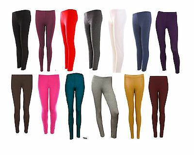 CL Ladies Cotton Leggings Full Ankle Length Thick All Colours UK Size 8-16