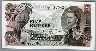 1968 Qeii Government Of Seychelles 5 Rupees Note *gem Unc*