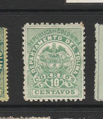 A2P58 COLOMBIA TOLIMA 1888 PERF. 10 1/2 10c MH*