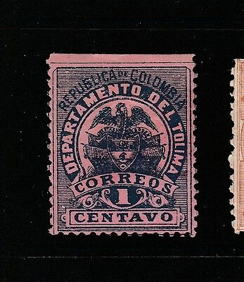 A2P58 COLOMBIA TOLIMA 1895 PERF. 12 1c MH*