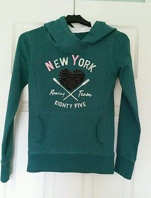 Tommy Hilfiger Young Girl Green HEART HOODIE Sweater Jumper 9 10 years XMAS NWT