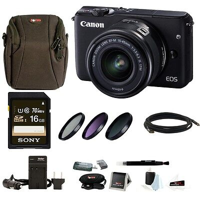Canon EOS M10 Digital SLR Camera w/ EF-M 15-45mm f/3.5-6.3 IS STM Lens + Bundle