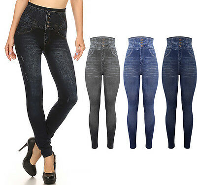 New Ladies Denim High Waist Jeggins Skinny Trousers Black Leggins 6-22