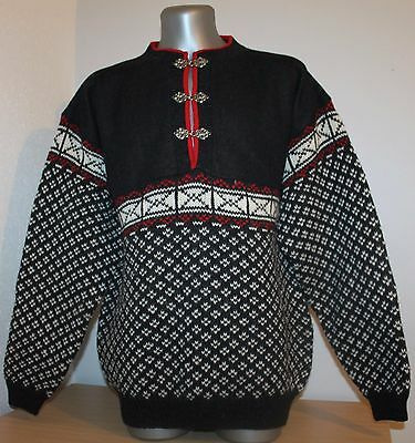 VTG NORDIC BOUVIAC Norway FAIRISLE CARDIGAN Sweater Jumper 100% Wool Dale Of. XL